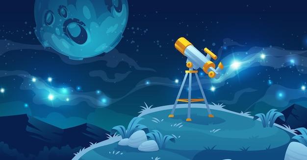 Telescópio para ilustração de exploração espacial