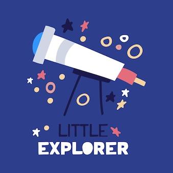 Telescópio plano de desenhos animados. ilustração plana com texto pequeno explorador sobre fundo azul.