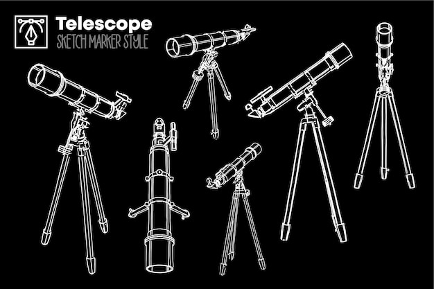 Telescópio retrô desenhado de mão. conjunto