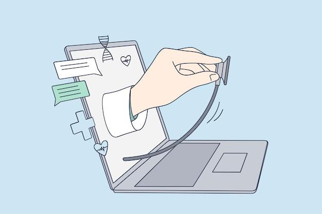 Telessaúde, médico online Vetor Premium