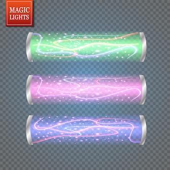Teletransporte futurista. efeito de luz. raios de velas azuis de uma cena noturna com faíscas em um fundo transparente. efeito de luz vazio do pódio.