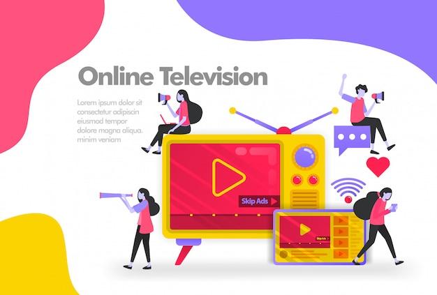 Televisão antiga com banner de tablets e vídeos