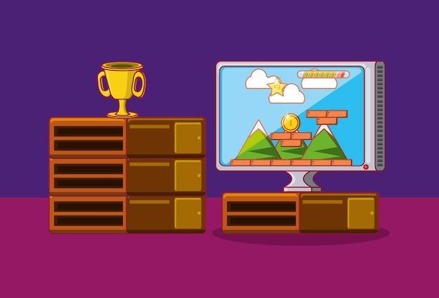 Televisão com videogame na tela sobre fundo roxo