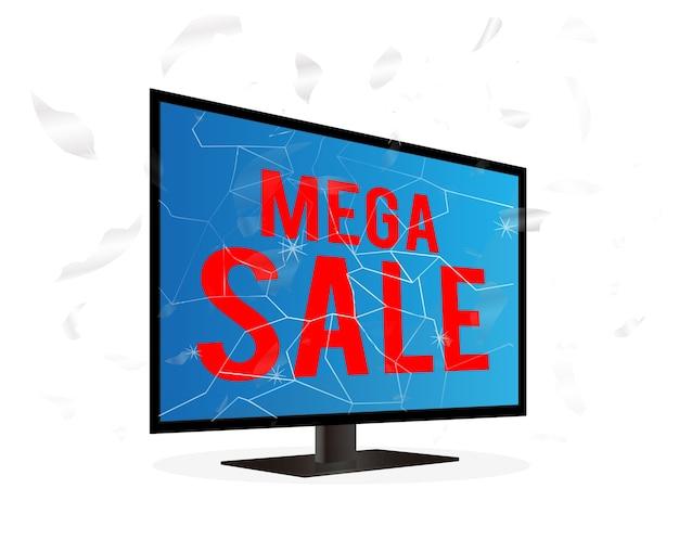 Televisão de tela quebrada com mega palavra de venda