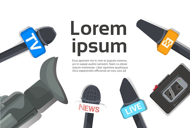 Televisão do conceito do jornalismo ou imprensa microfones, gravador e câmera da notícia