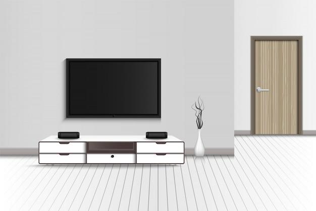 Televisão e estéreo envolvente da decoração de home theater, realista da moderna sala de estar interior e móveis decorativos.