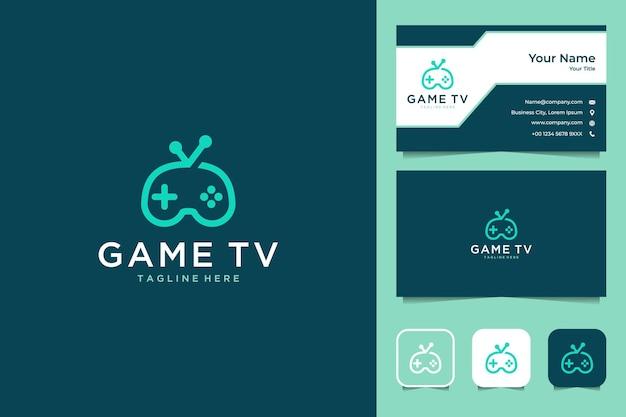 Televisão para jogos com logotipo do console e cartão de visita