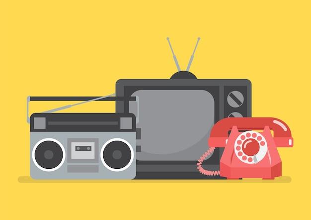 Televisão retrô e rádio