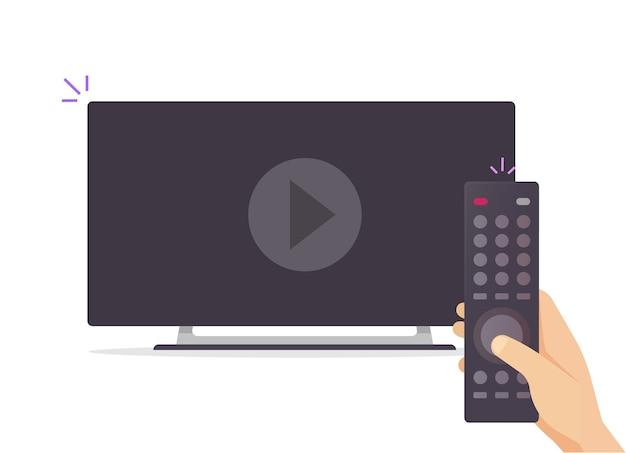 Televisão tv assistindo filme conceito ilustração plana dos desenhos animados