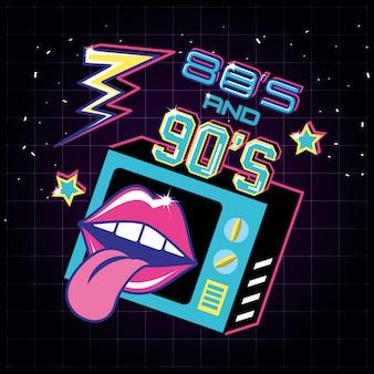Televisor com ícones dos anos 80 e 90 retro