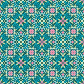 Telhas de design sem costura étnica de arte retro de flor.