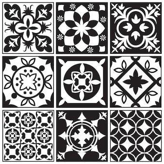 Telhas de repetição monocromáticas vintage. padrões de vetores de chão de azulejos marroquinos