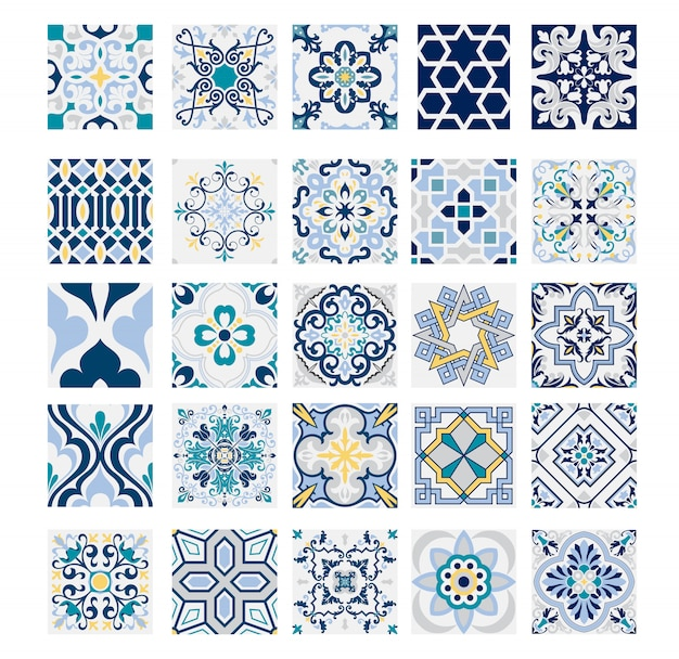 Telhas padrões portugueses antigo design sem costura em vintage de ilustração vetorial