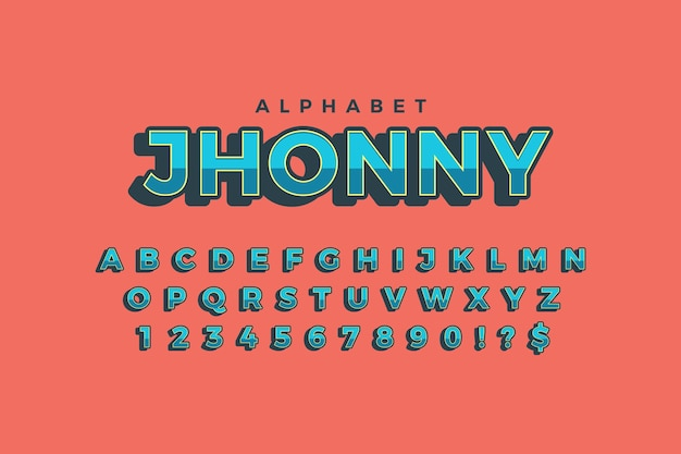 Tema 3d alfabeto retrô