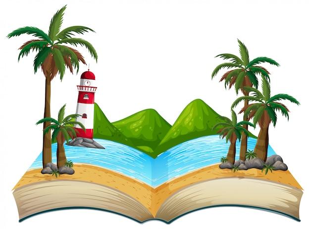 Tema aberto da praia do verão do livro
