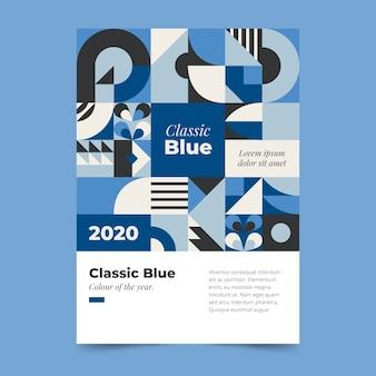 Tema abstrato azul clássico modelo de cartaz