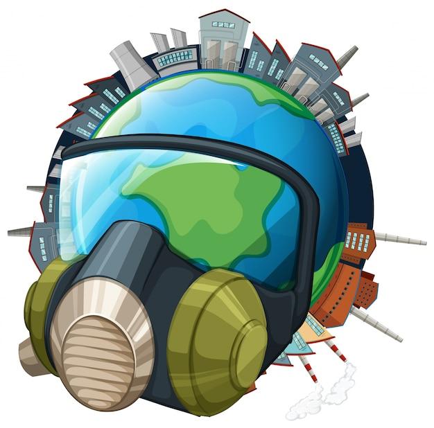 Tema ambiental com máscara de terra