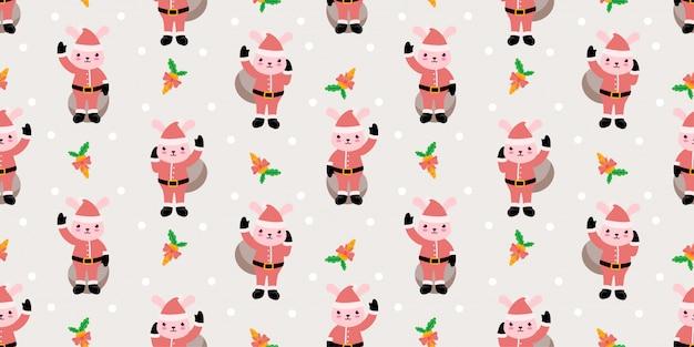 Tema animal bonito do padrão de animal de natal
