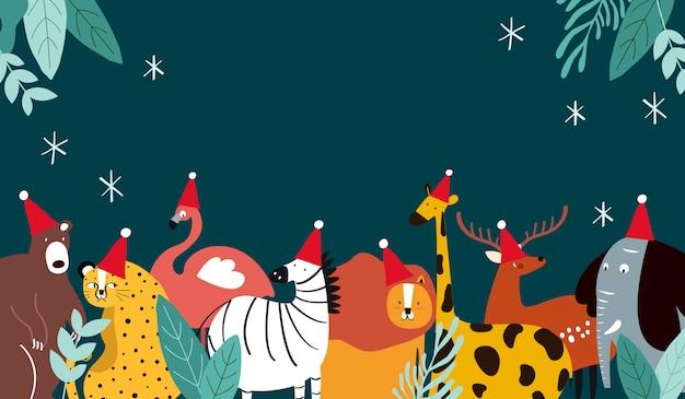 Tema animal, feliz natal, cartão