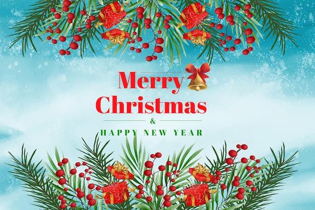 Tema aquarela de natal e fundo de banner de feliz ano novo com enfeites