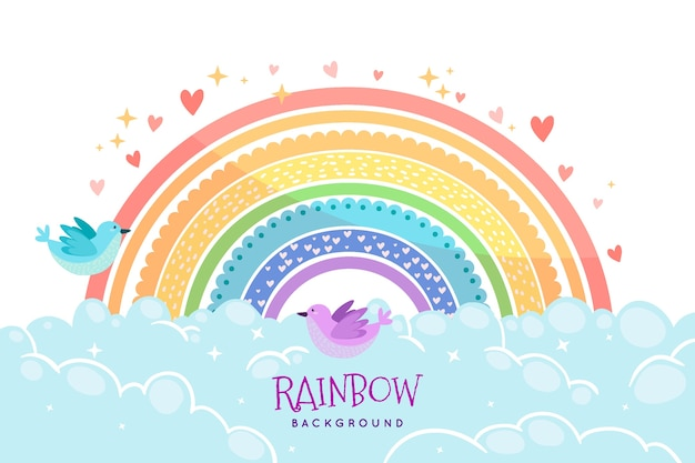 Tema arco-íris desenhado à mão