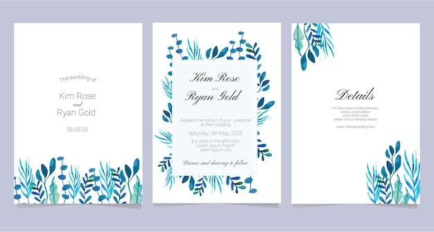 Tema azul da coleção de cartões de casamento