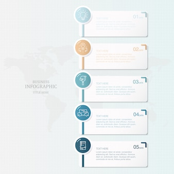 Tema azul e 5 infográficos de processo e ícones para apresentação de negócios