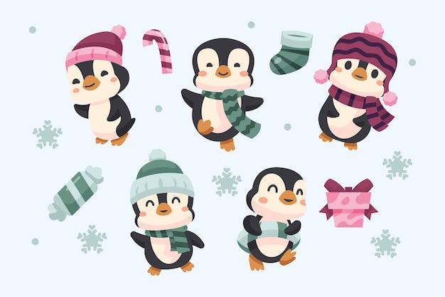 Tema bonito da coleção de pinguins de inverno