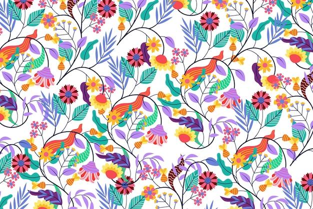Tema colorido exótico do papel de parede floral