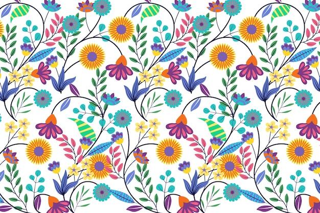 Tema colorido exótico fundo floral