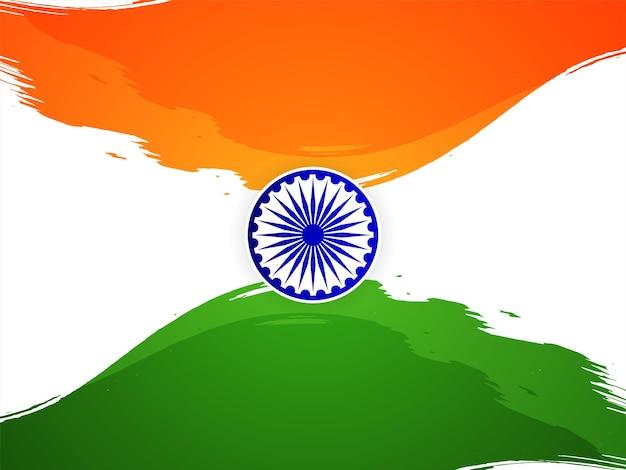 Tema da bandeira tricolor indiana, vetor de fundo do dia da independência