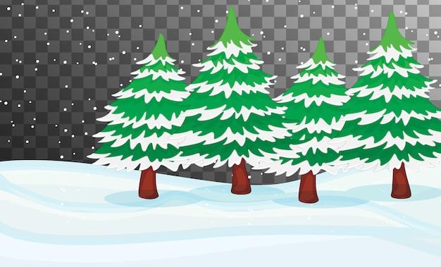 Tema da cena da natureza no inverno com fundo transparente