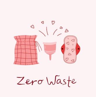 Tema da menstruação. período. vários produtos de higiene feminina. objetos de desperdício zero no estilo plano
