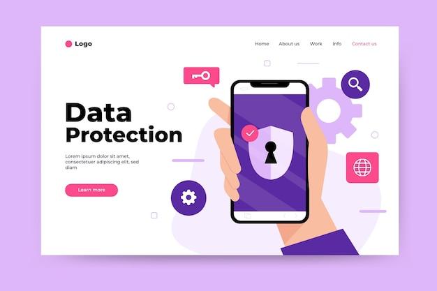 Tema da página de destino da proteção de dados