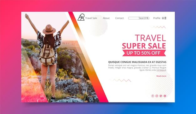 Tema da página de destino da venda de viagens
