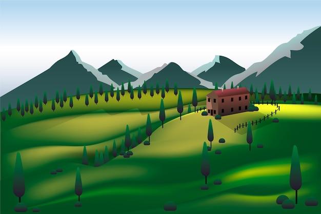 Tema da paisagem da área de acampamento
