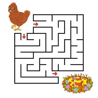 Tema da páscoa. labirinto quadrado.