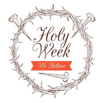 Tema da semana santa desenhado à mão