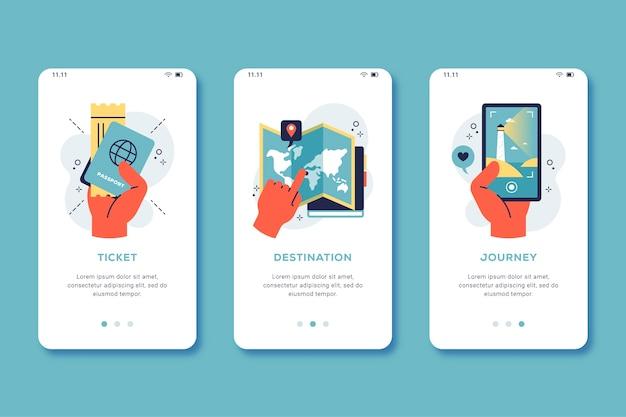 Tema da tela do aplicativo de integração de viagens