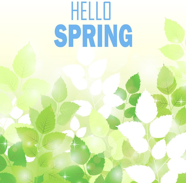 Tema da temporada de primavera com fundo de folhas frescas