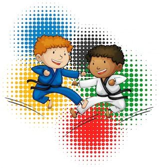 Tema das olimpíadas com meninos fazendo taekwando