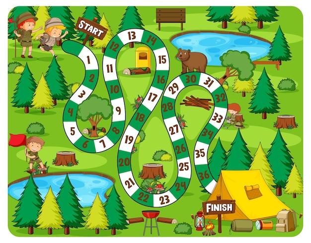 Tema de acampamento do jogo de tabuleiro do caminho