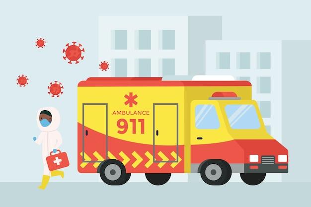 Tema de ambulância de emergência