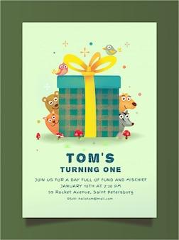 Tema de animais de convite de aniversário grátis