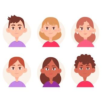 Tema de avatar de pessoas ilustrado