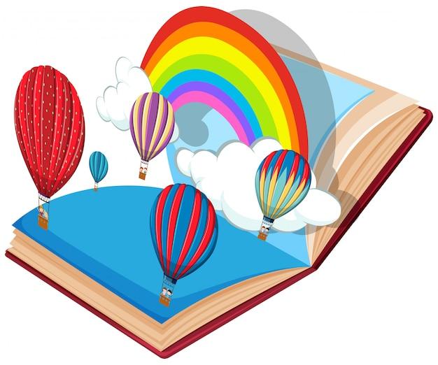 Tema de balão de ar quente de livro aberto