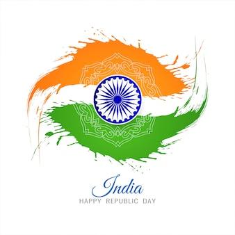 Tema de bandeira indiana dia da república grunge fundo