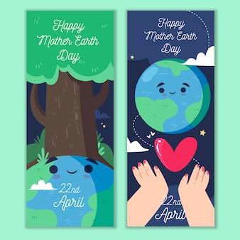Tema de banner do dia da mãe terra desenhados à mão