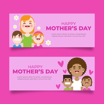 Tema de banners de dia das mães de design plano
