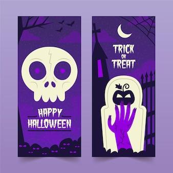 Tema de banners de halloween desenhado à mão